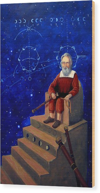 Visionary Of Stars Galileo Galilei  Wood Print
