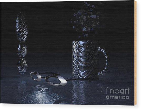 Visions Of Black Wood Print