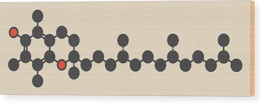 Vitamin E Molecule Wood Print by Molekuul