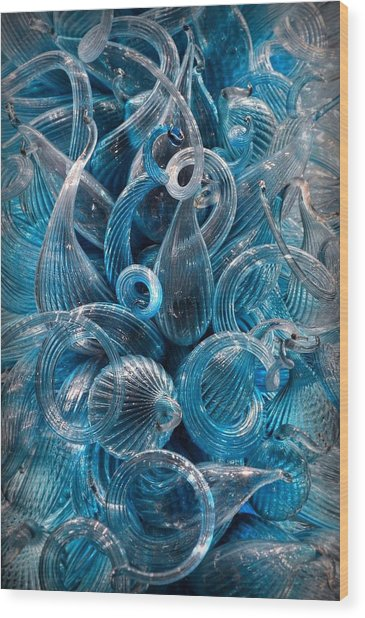 Vitreous Azure Abstract Wood Print