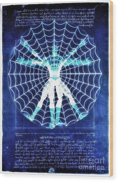 Vitruvian Spiderman White In The Sky Wood Print