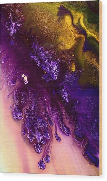 Vivid Abstract Art Purple Fugitive-gold Tones Fluid Painting By Kredart Wood Print