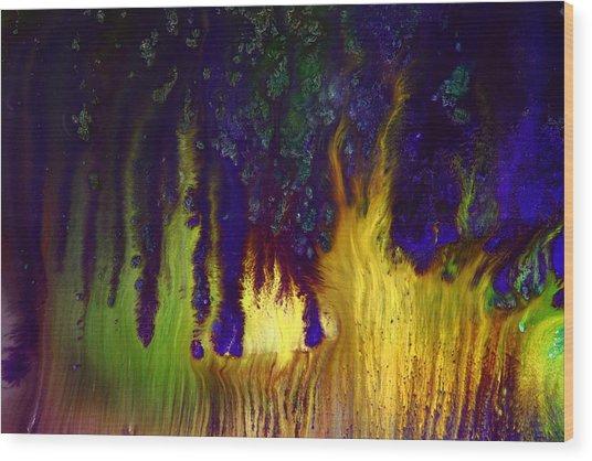 Vivid Abstract Flaming Darkness By Kredart Wood Print