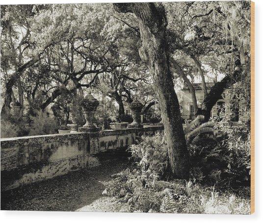 Vizcaya Garden Courtyard Wood Print