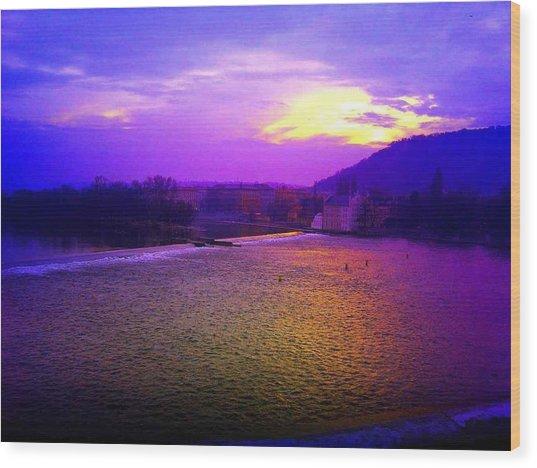 Vltava River Prague Sunset Wood Print