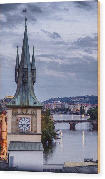 Vltava River In Prague Wood Print
