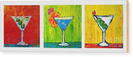 Vodka Martini Collection Bar Decor - Modern Art Wood Print