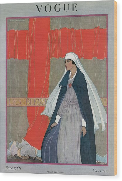 Vogue Cover Featuring A Nurse Wood Print