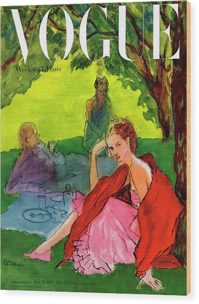 Vogue Cover Featuring A Woman Having A Picnic Wood Print