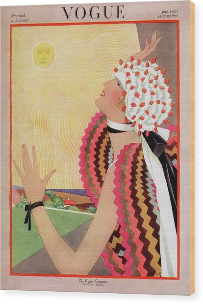 Vogue Cover Featuring A Woman Looking At The Sun Wood Print by George Wolfe Plank