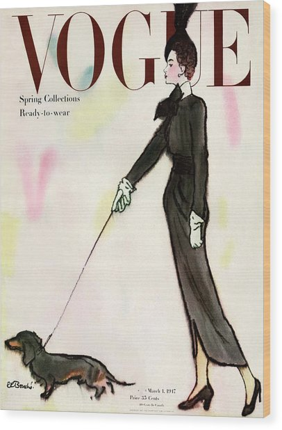 Vogue Cover Featuring A Woman Walking A Dog Wood Print