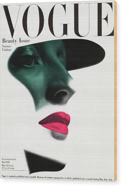 Vogue Cover Featuring A Woman's Face Wood Print
