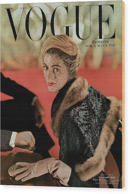 Vogue Cover Featuring Carmen Dell'orefice Wood Print by John Rawlings