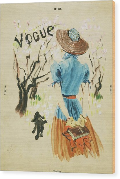 Vogue Cover Featuring Woman Walking Wood Print by Rene Bouet-Willaumez
