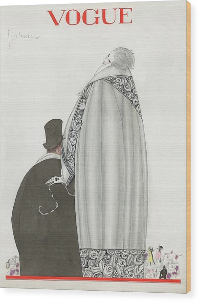 Vogue Cover Illustration Of A Couple Entering Wood Print