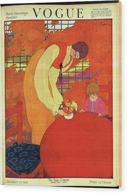 Vogue Cover Illustration Of A Mother And Son Wood Print
