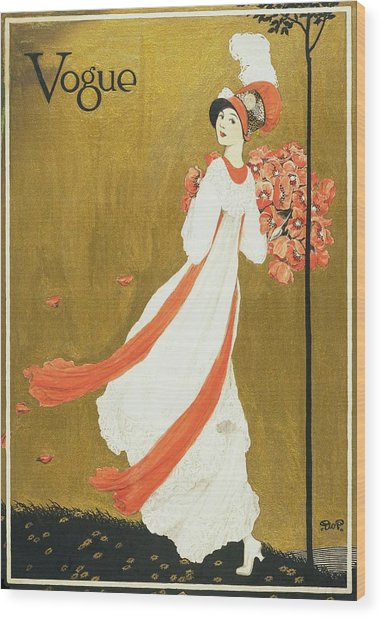Vogue Cover Illustration Of A Woman Carrying Wood Print by George Wolfe Plank