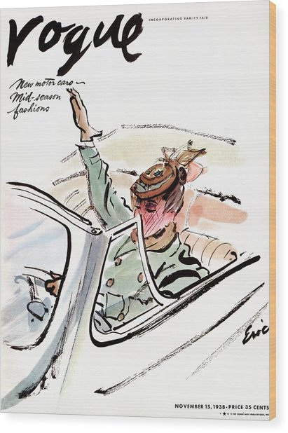 Vogue Cover Illustration Of A Woman Driving A Car Wood Print