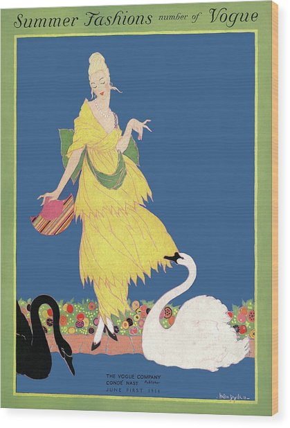 Vogue Cover Illustration Of A Woman Looking Wood Print