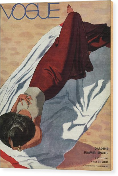 Vogue Cover Illustration Of A Woman Lying Wood Print by Pierre Mourgue
