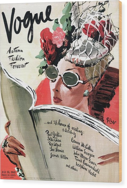 Vogue Cover Illustration Of A Woman Reading Wood Print