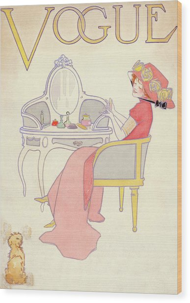 Vogue Cover Illustration Of A Woman Sitting Wood Print by Davis