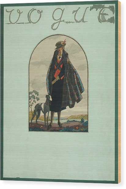 Vogue Cover Illustration Of A Woman Standing Wood Print