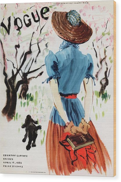 Vogue Cover Illustration Of A Woman Walking Wood Print