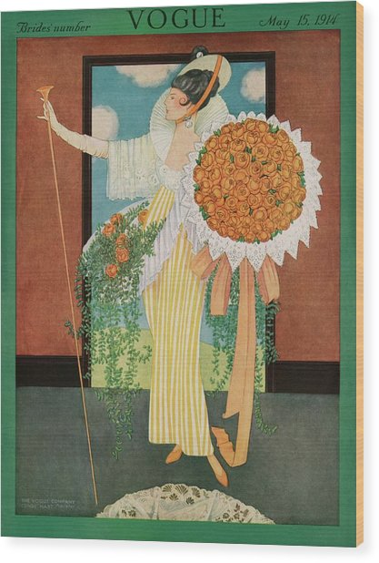 Vogue Cover Illustration Of A Woman Wearing Wood Print