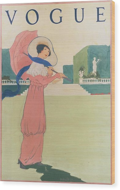 Vogue Cover Illustration Of A Woman Wearing Wood Print by Helen Dryden