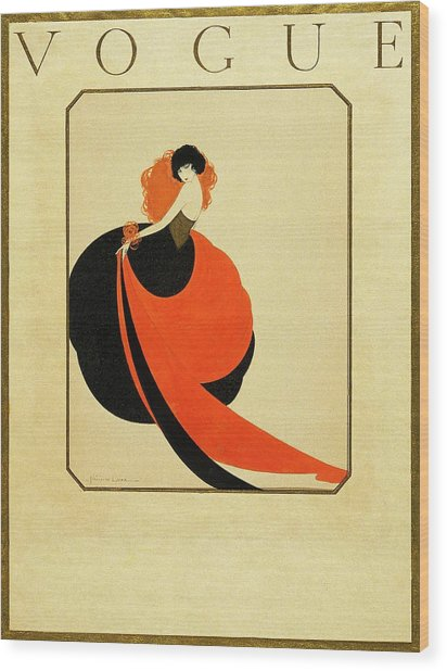 Vogue Cover Illustration Of A Woman Wearing Wood Print by Reinaldo Luza