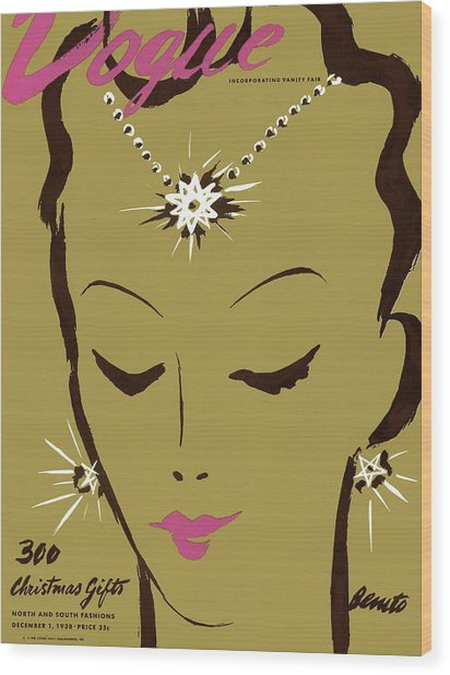 Vogue Cover Illustration Of A Woman Wearing Star Wood Print by Eduardo Garcia Benito