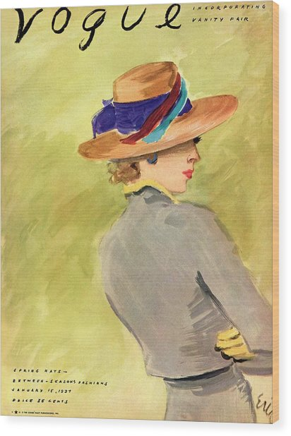 Vogue Cover Illustration Of A Woman Wearing Straw Wood Print by Carl Oscar August Erickson