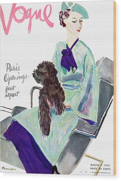 Vogue Cover Illustration Of A Woman With Dog Wood Print
