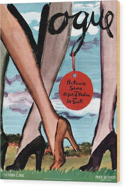Vogue Cover Illustration Of Female Legs Wearing Wood Print