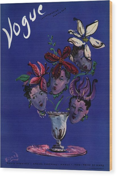 Vogue Cover Illustration Of Four Female Faces Wood Print