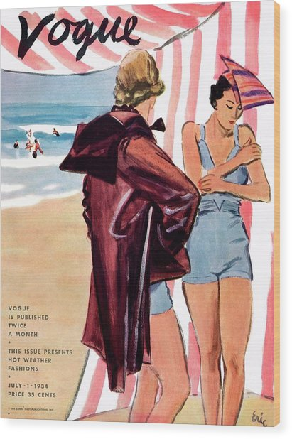 Vogue Cover Illustration Of Two Women At Beach Wood Print