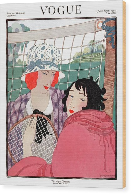 Vogue Cover Illustration Of Two Women In Front Wood Print by Helen Dryden