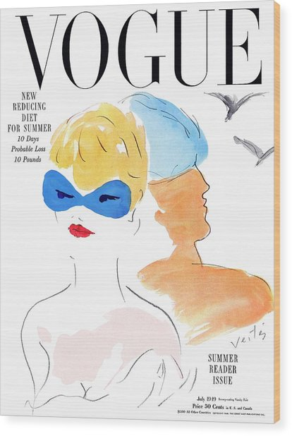 Vogue Cover Illustration Of Two Women Standing Wood Print