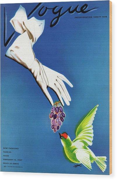 Vogue Cover Illustration Of White Gloves Wood Print