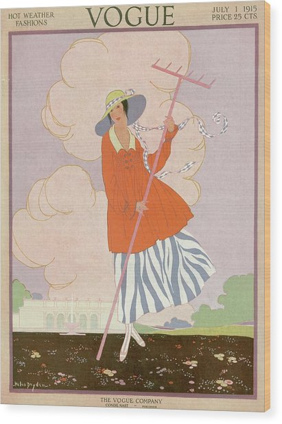 Vogue Cover Illustration Of Woman Holding Rake Wood Print
