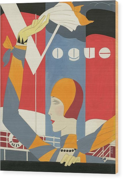 Vogue Cover Illustration Of Woman Waving Wood Print