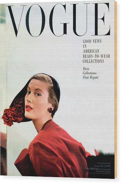 Vogue Cover Of Mary Jane Russell Wood Print