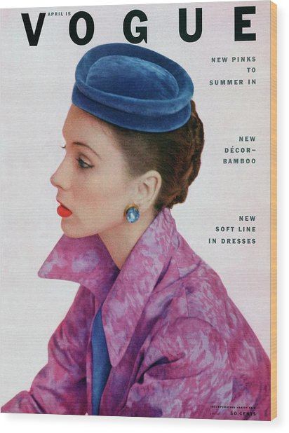 Vogue Cover Of Suzy Parker Wood Print