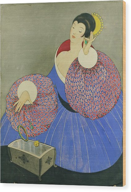 Vogue Drawing Of A Woman Taking Off Her Jewelry Wood Print by George Wolfe Plank