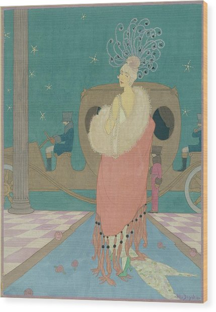 Vogue Illustration Of A Woman In A Pink Cape Wood Print by Helen Dryden