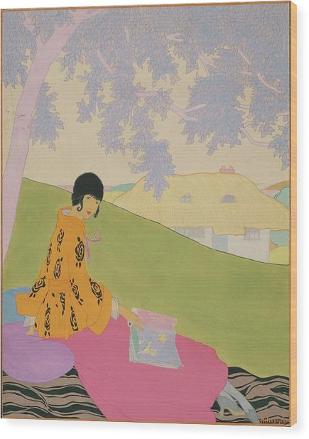 Vogue Illustration Of A Woman Sitting On A Hill Wood Print
