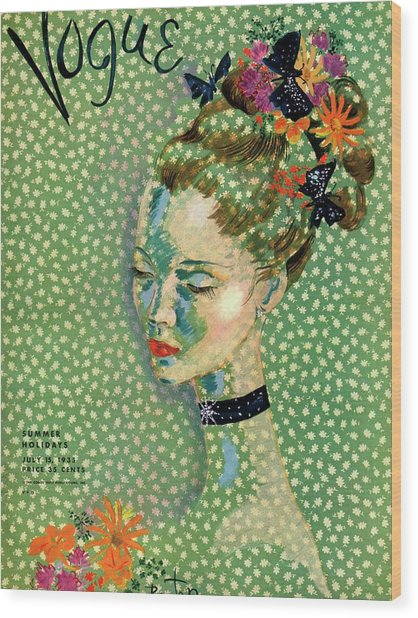 Vogue Magazine Cover Featuring A Woman Wood Print by Cecil Beaton