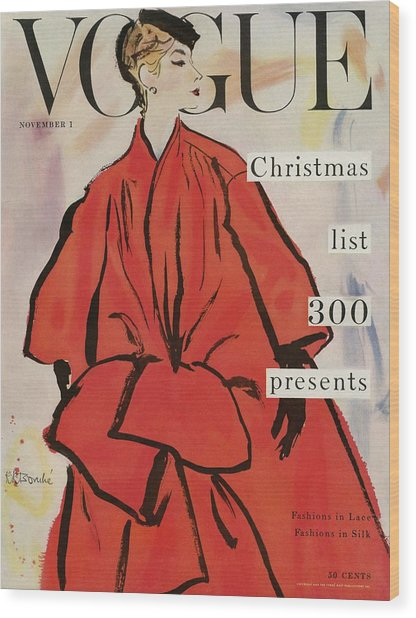 Vogue Magazine Cover Featuring A Woman In A Large Wood Print