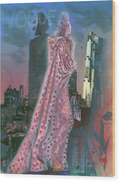 Vogue Magazine Cover Featuring A Woman Standing Wood Print by Pavel Tchelitchew